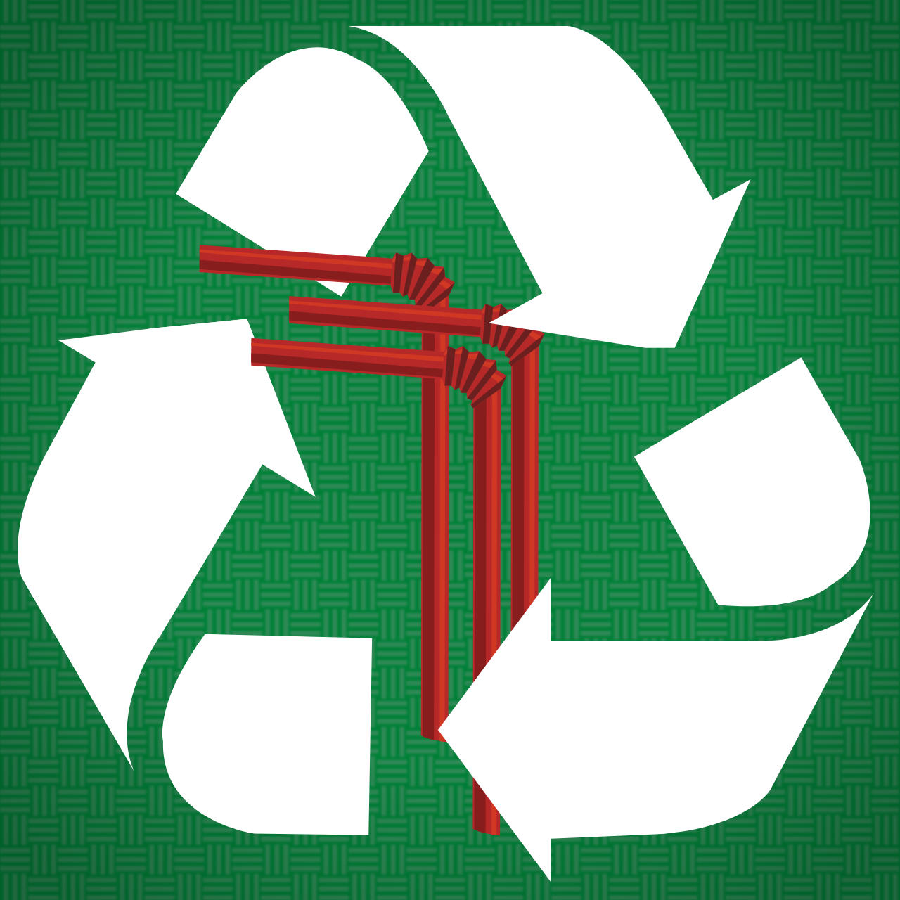 Some plastic straws surrounded by the Recycling Symbol