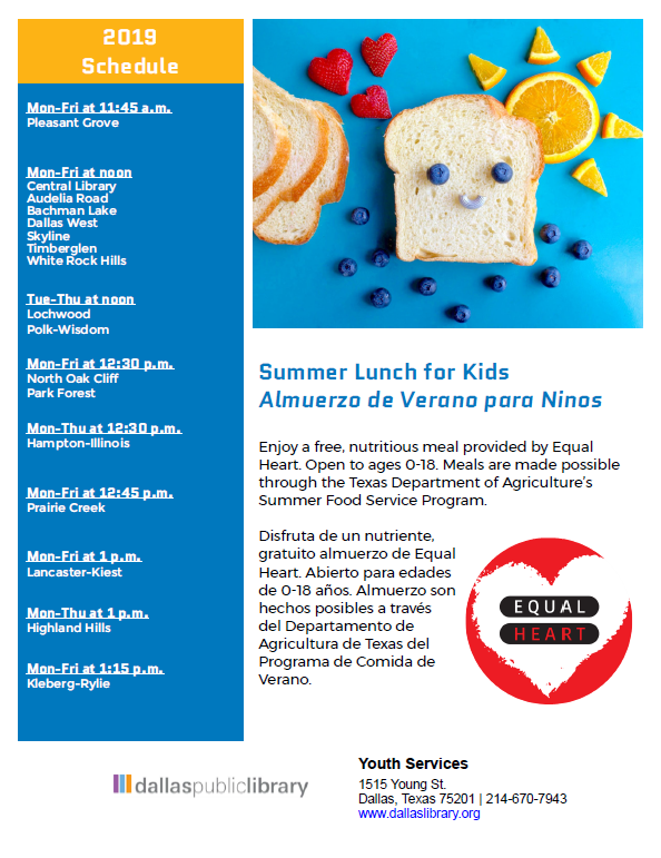 Summer Lunch for Kids. Free nutritious meal provided by Equal Heart for ages 0-18. 12-1 pm Monday through Friday