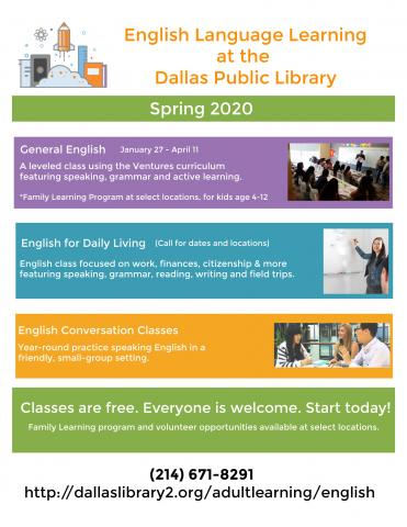 Fall 2019 English Language Learning Classes