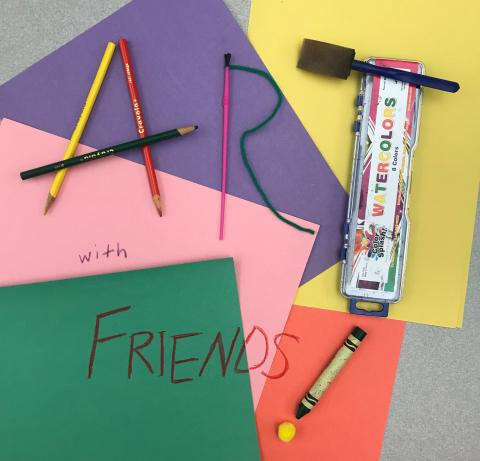 "image of craft items that spell ""Art with Friends"""