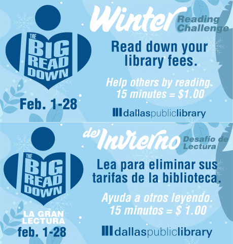 Bilingual flyer for the Big Read Down. A human figure shaped like a heart.
